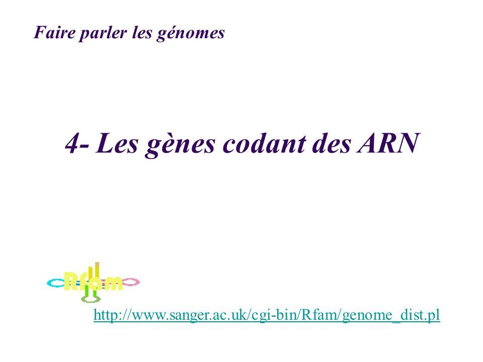 4- Les gènes codant des ARN http://www.sanger.ac.uk/cgi-bin/Rfam/genome_dist.pl Faire parler les génomes