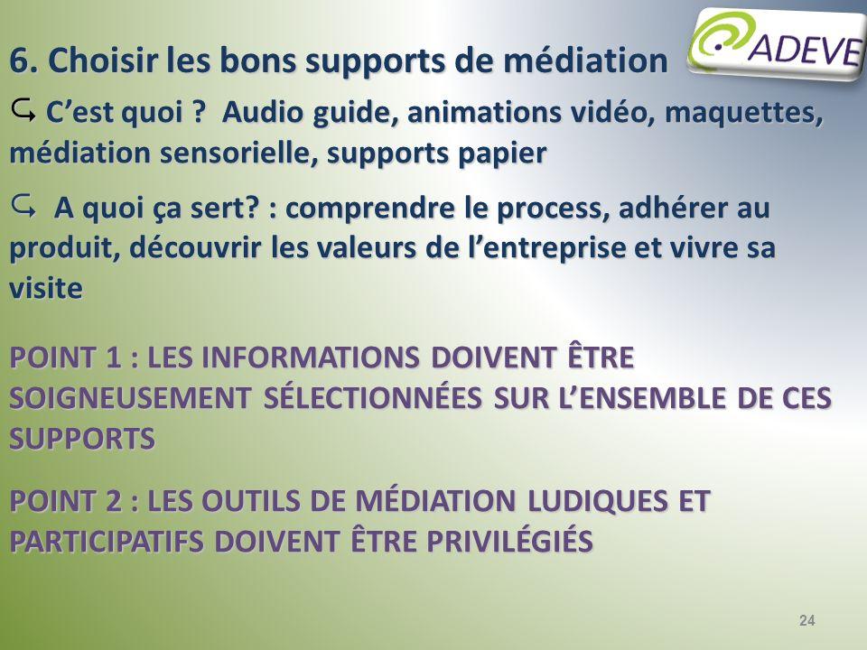 24 6. Choisir les bons supports de médiation Cest quoi ? Audio guide, animations vidéo, maquettes, médiation sensorielle, supports papier Cest quoi ?