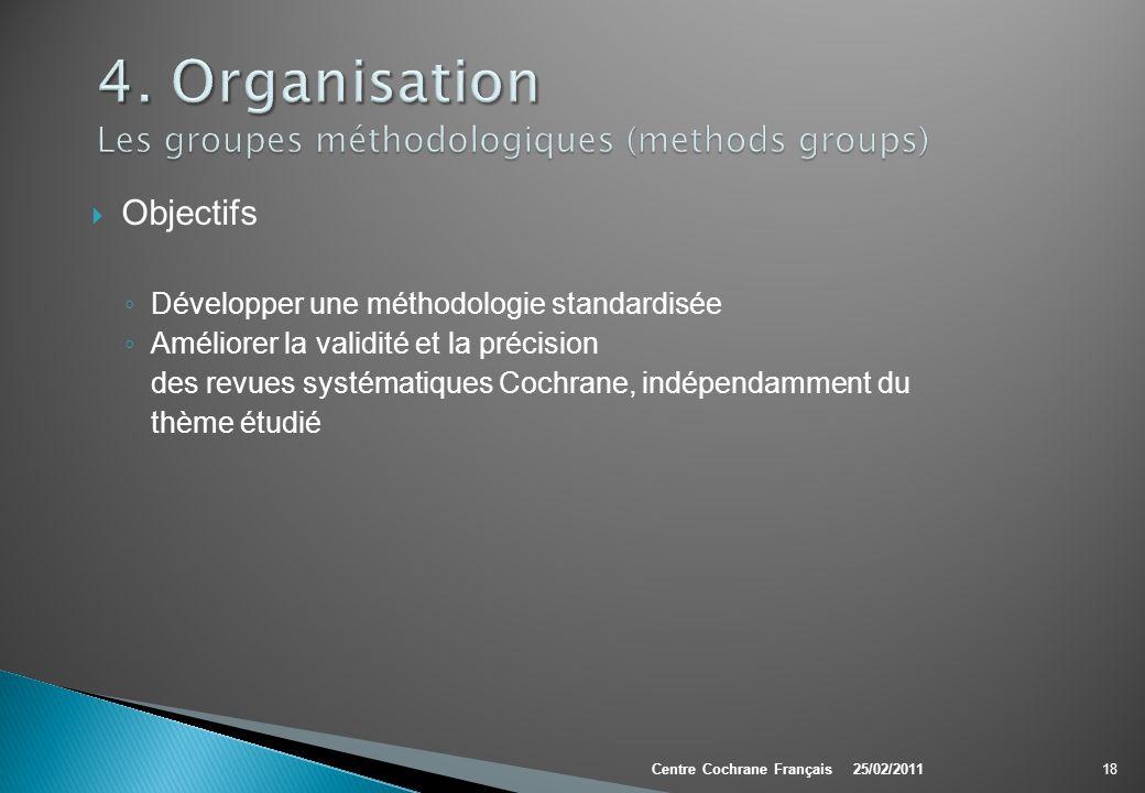 Objectifs Développer une méthodologie standardisée Améliorer la validité et la précision des revues systématiques Cochrane, indépendamment du thème ét