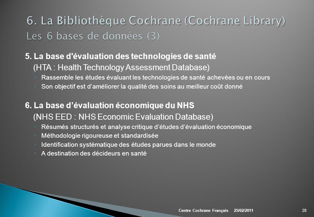 5. La base d'évaluation des technologies de santé (HTA : Health Technology Assessment Database) Rassemble les études évaluant les technologies de sant