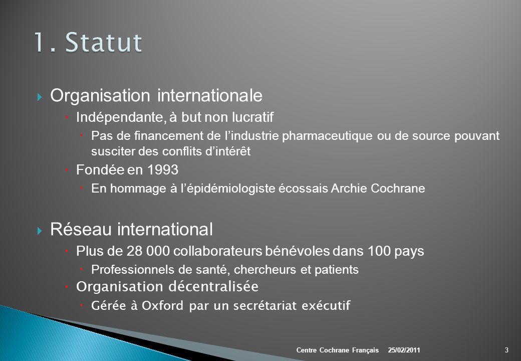 Cochrane Colloquium Conférence annuelle ouverte à tous publics Point de rencontre et de discussion Objectif: Développer et promouvoir le travail, façonner l orientation future de la Collaboration 34Centre Cochrane Français25/02/2011