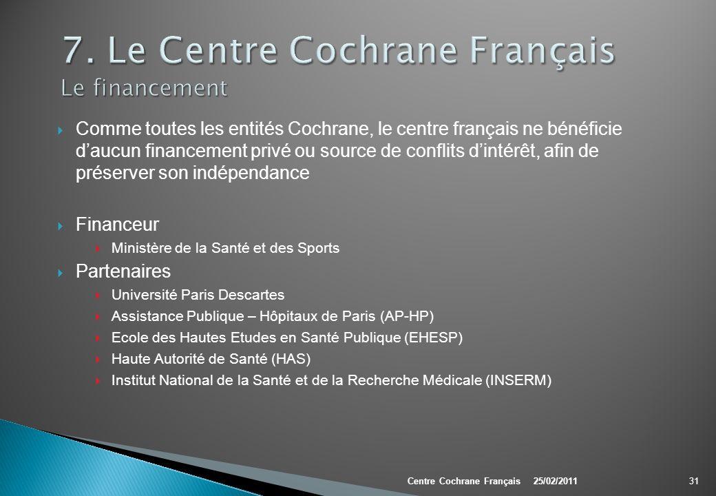Comme toutes les entités Cochrane, le centre français ne bénéficie daucun financement privé ou source de conflits dintérêt, afin de préserver son indé