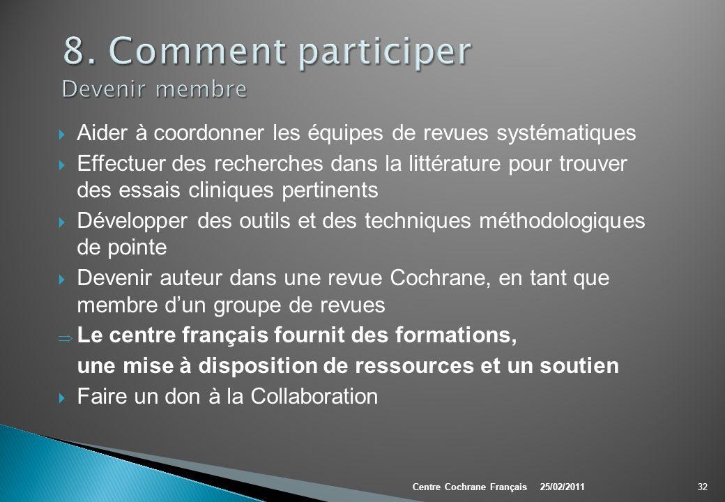 Aider à coordonner les équipes de revues systématiques Effectuer des recherches dans la littérature pour trouver des essais cliniques pertinents Dével