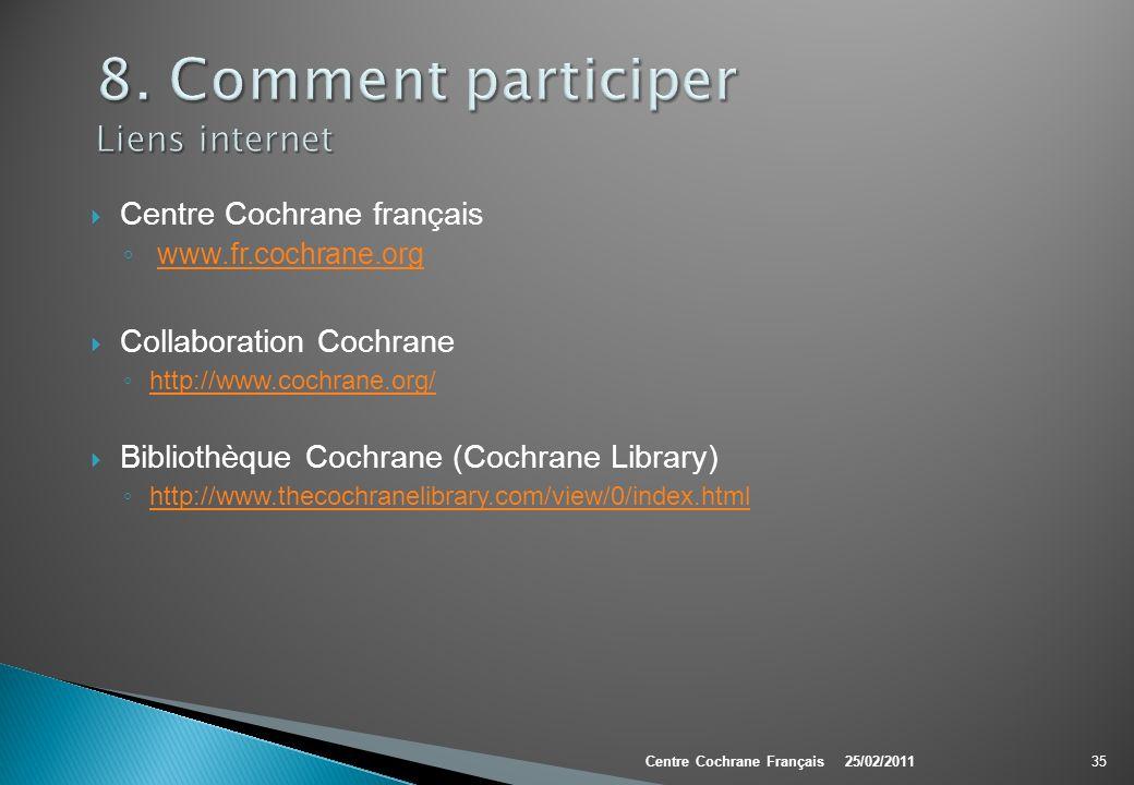 Centre Cochrane français www.fr.cochrane.org Collaboration Cochrane http://www.cochrane.org/ Bibliothèque Cochrane (Cochrane Library) http://www.theco
