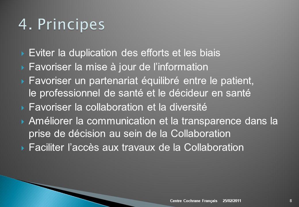 Eviter la duplication des efforts et les biais Favoriser la mise à jour de linformation Favoriser un partenariat équilibré entre le patient, le profes
