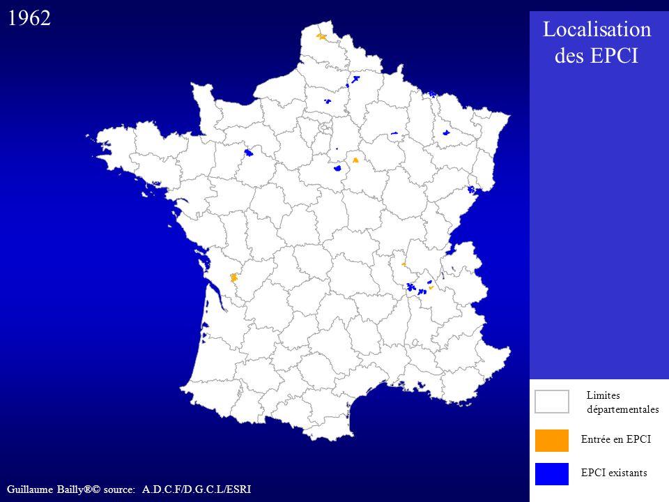 Entrée en EPCI EPCI existants 1962 Entrée en EPCI EPCI existants Limites départementales Localisation des EPCI Guillaume Bailly®© source: A.D.C.F/D.G.