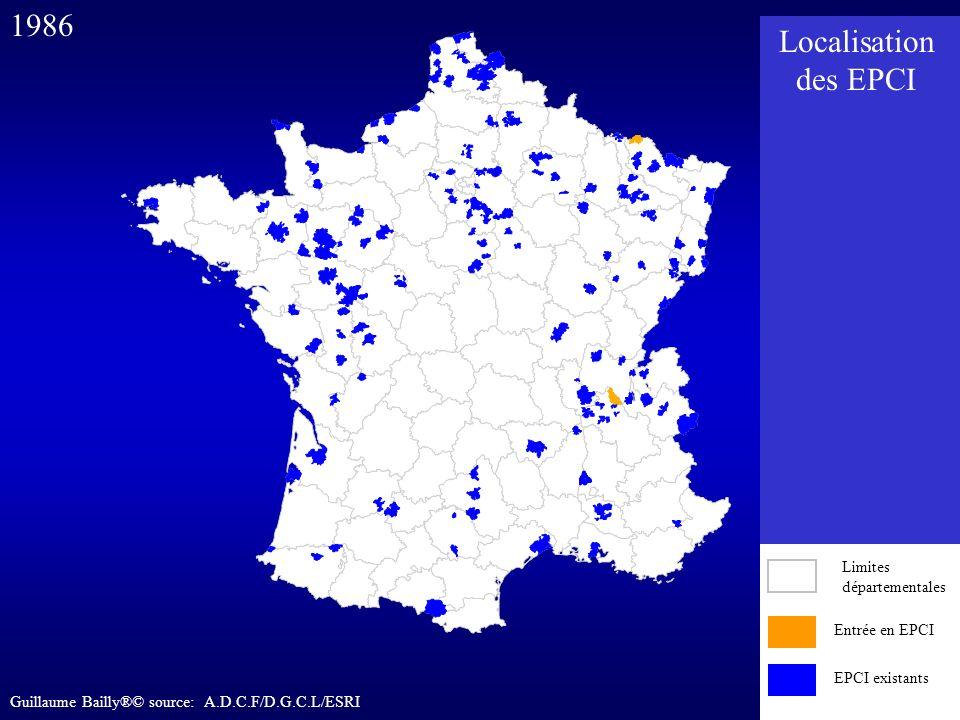 Entrée en EPCI EPCI existants 1986 Entrée en EPCI EPCI existants Limites départementales Localisation des EPCI Guillaume Bailly®© source: A.D.C.F/D.G.