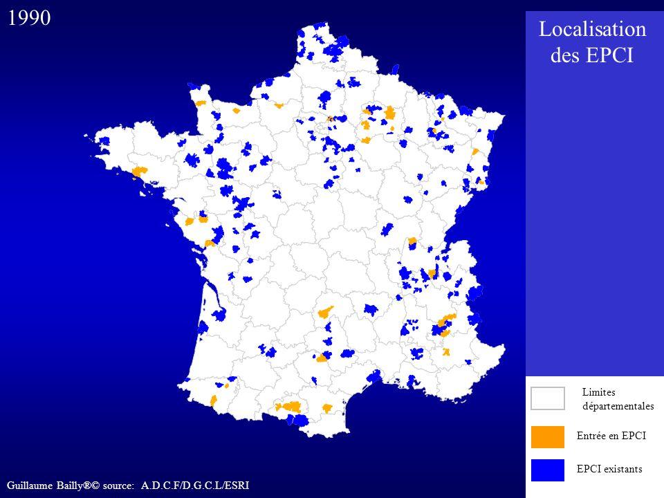 Entrée en EPCI EPCI existants 1990 Entrée en EPCI EPCI existants Limites départementales Localisation des EPCI Guillaume Bailly®© source: A.D.C.F/D.G.