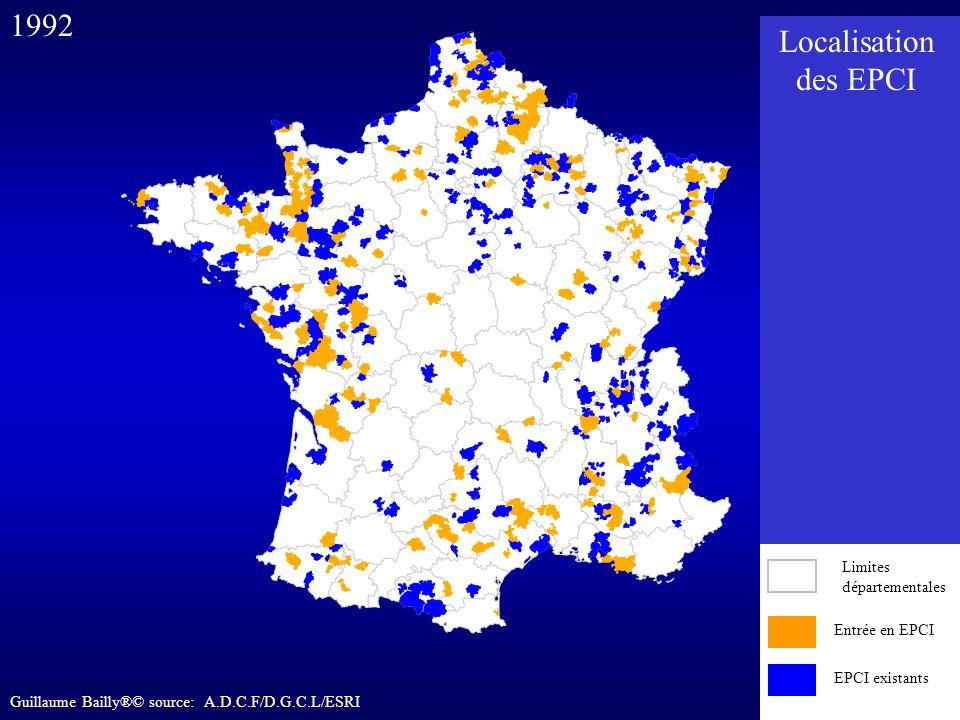 Entrée en EPCI EPCI existants 1992 Entrée en EPCI EPCI existants Limites départementales Localisation des EPCI Guillaume Bailly®© source: A.D.C.F/D.G.
