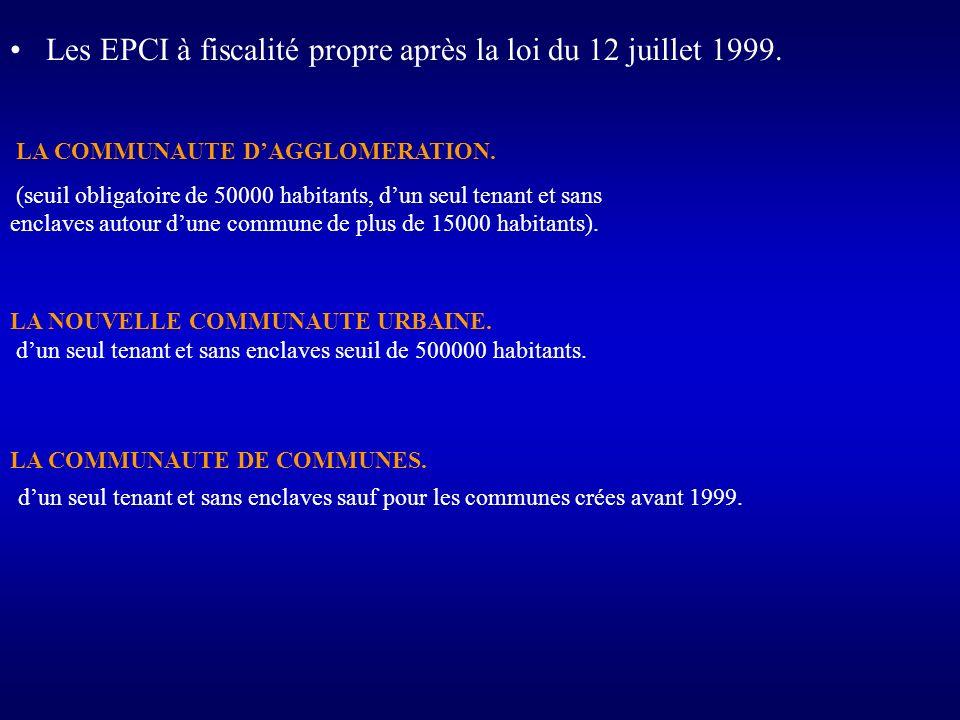 Les EPCI à fiscalité propre après la loi du 12 juillet 1999. LA COMMUNAUTE DAGGLOMERATION. (seuil obligatoire de 50000 habitants, dun seul tenant et s