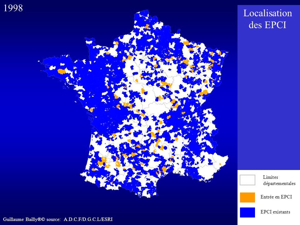Entrée en EPCI EPCI existants 1998 Entrée en EPCI EPCI existants Limites départementales Localisation des EPCI Guillaume Bailly®© source: A.D.C.F/D.G.