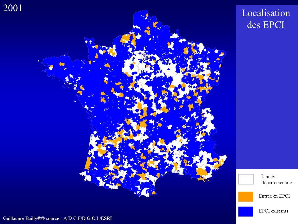 Entrée en EPCI EPCI existants 2001 Entrée en EPCI EPCI existants Limites départementales Localisation des EPCI Guillaume Bailly®© source: A.D.C.F/D.G.