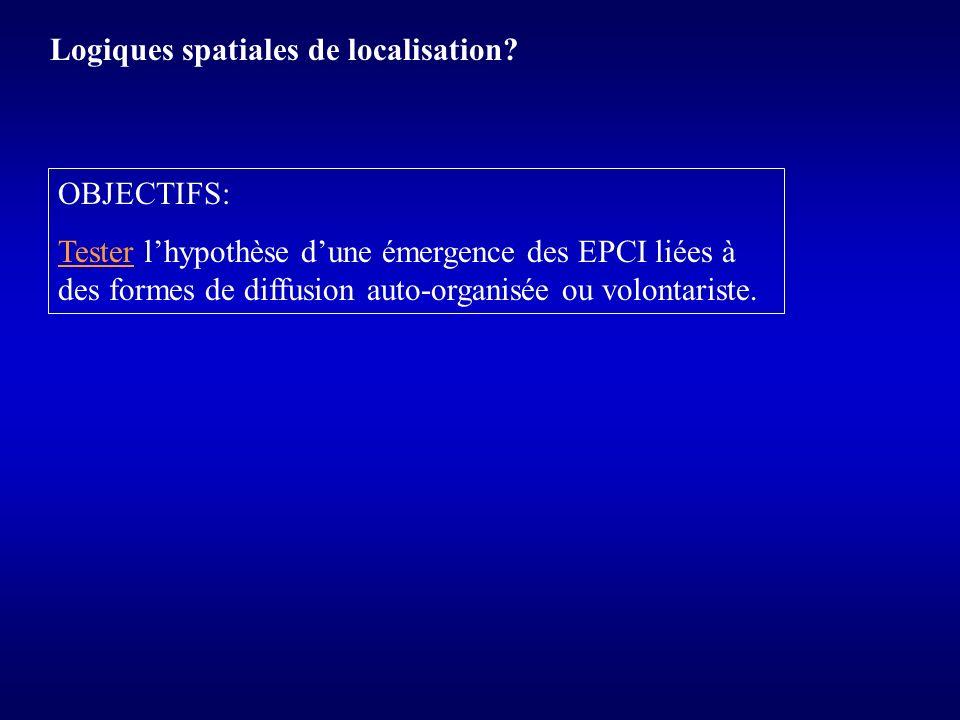 Logiques spatiales de localisation? OBJECTIFS: Tester lhypothèse dune émergence des EPCI liées à des formes de diffusion auto-organisée ou volontarist