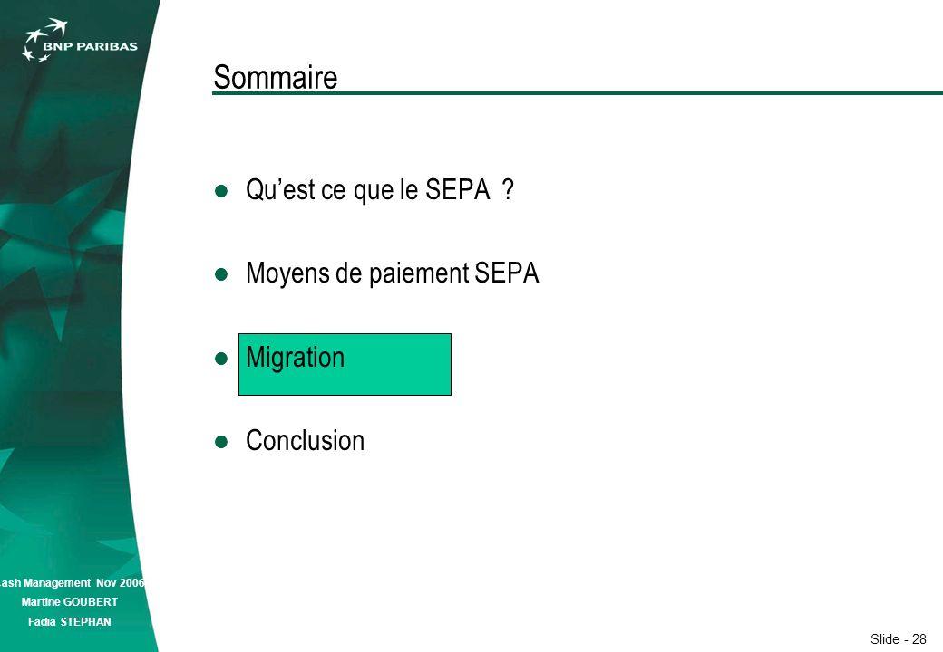 Slide - 28 Cash Management Nov 2006 Martine GOUBERT Fadia STEPHAN Sommaire Quest ce que le SEPA .
