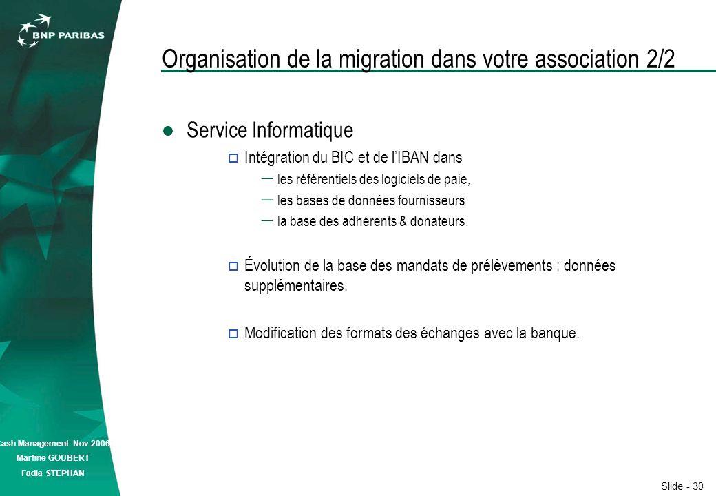 Slide - 30 Cash Management Nov 2006 Martine GOUBERT Fadia STEPHAN Organisation de la migration dans votre association 2/2 Service Informatique Intégration du BIC et de lIBAN dans les référentiels des logiciels de paie, les bases de données fournisseurs la base des adhérents & donateurs.