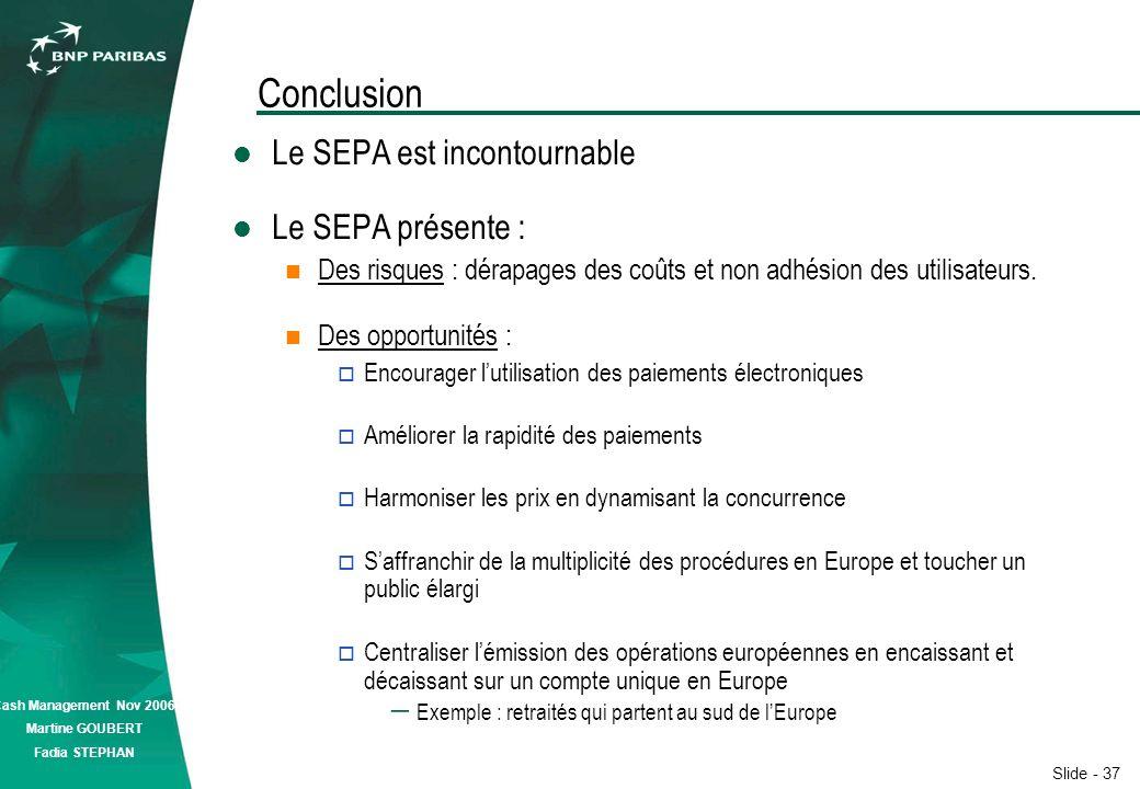 Slide - 37 Cash Management Nov 2006 Martine GOUBERT Fadia STEPHAN Conclusion Le SEPA est incontournable Le SEPA présente : Des risques : dérapages des coûts et non adhésion des utilisateurs.