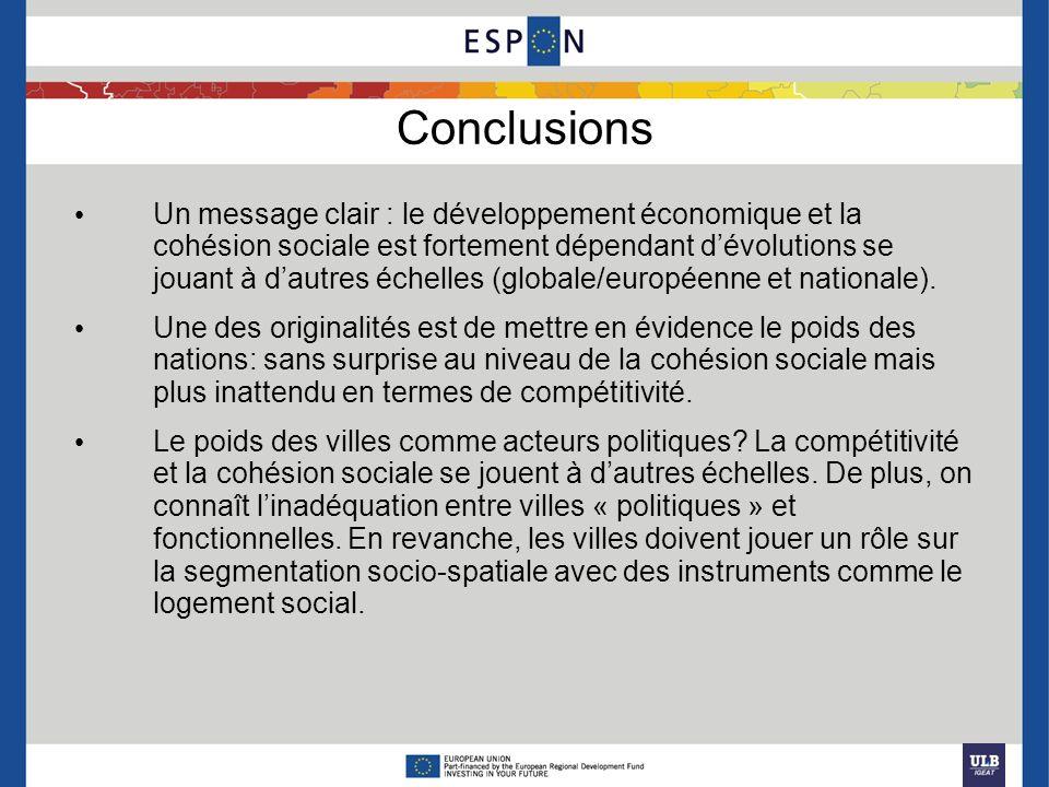 Conclusions Un message clair : le développement économique et la cohésion sociale est fortement dépendant dévolutions se jouant à dautres échelles (gl
