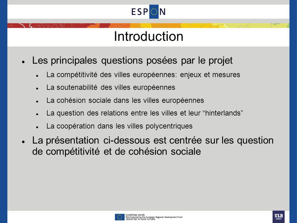 Introduction Les principales questions posées par le projet La compétitivité des villes européennes: enjeux et mesures La soutenabilité des villes eur