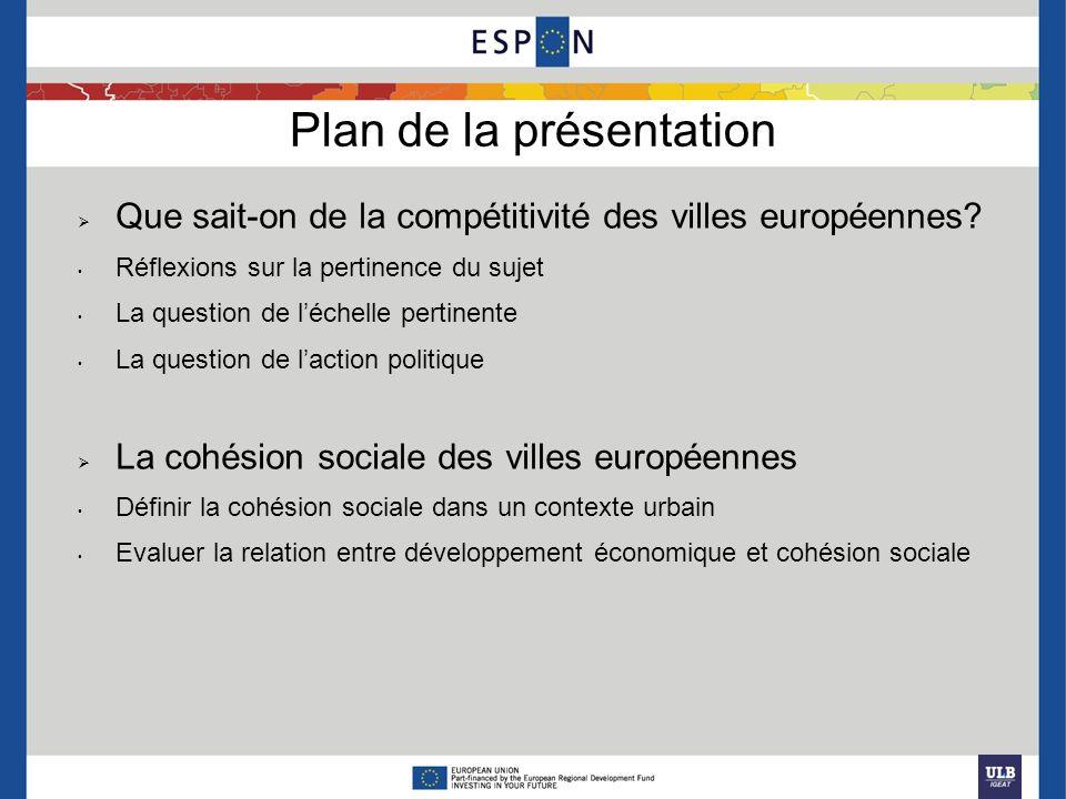 Plan de la présentation Que sait-on de la compétitivité des villes européennes? Réflexions sur la pertinence du sujet La question de léchelle pertinen