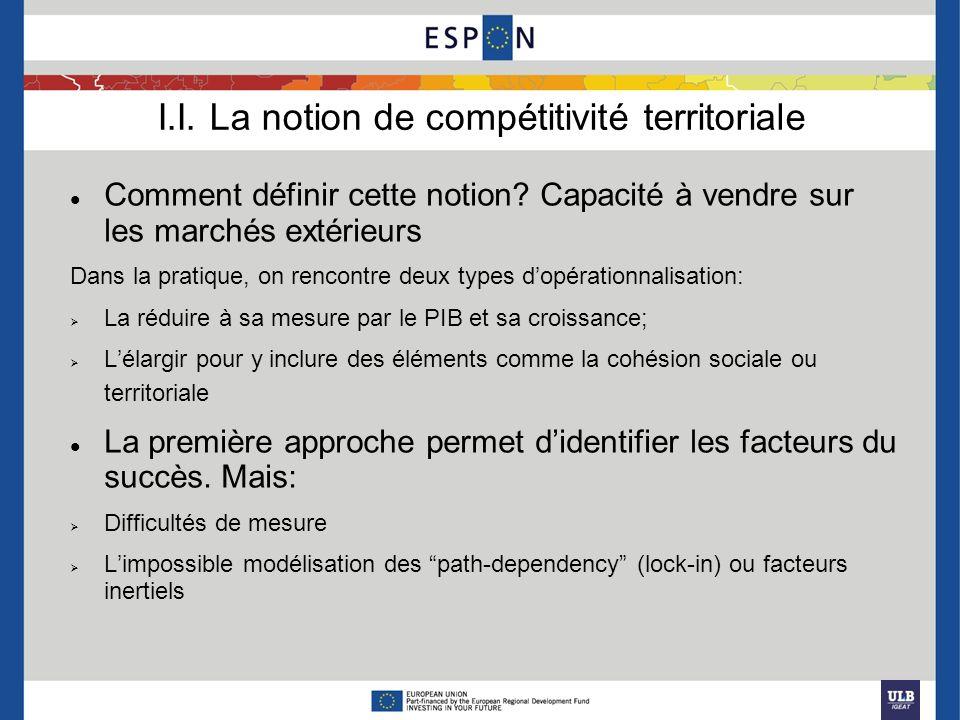 I.I. La notion de compétitivité territoriale Comment définir cette notion? Capacité à vendre sur les marchés extérieurs Dans la pratique, on rencontre