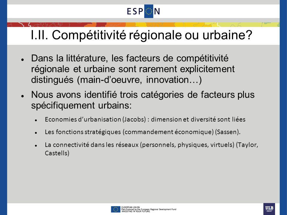Dans la littérature, les facteurs de compétitivité régionale et urbaine sont rarement explicitement distingués (main-doeuvre, innovation…) Nous avons
