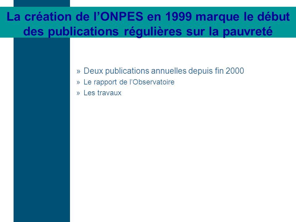 »Deux publications annuelles depuis fin 2000 »Le rapport de lObservatoire »Les travaux La création de lONPES en 1999 marque le début des publications