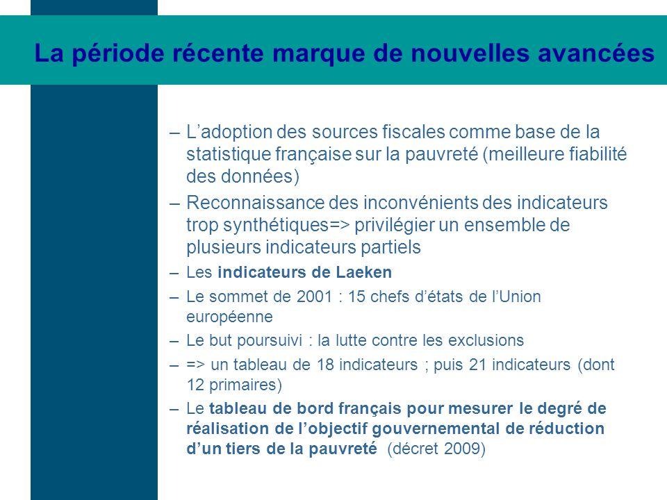 La période récente marque de nouvelles avancées –Ladoption des sources fiscales comme base de la statistique française sur la pauvreté (meilleure fiab