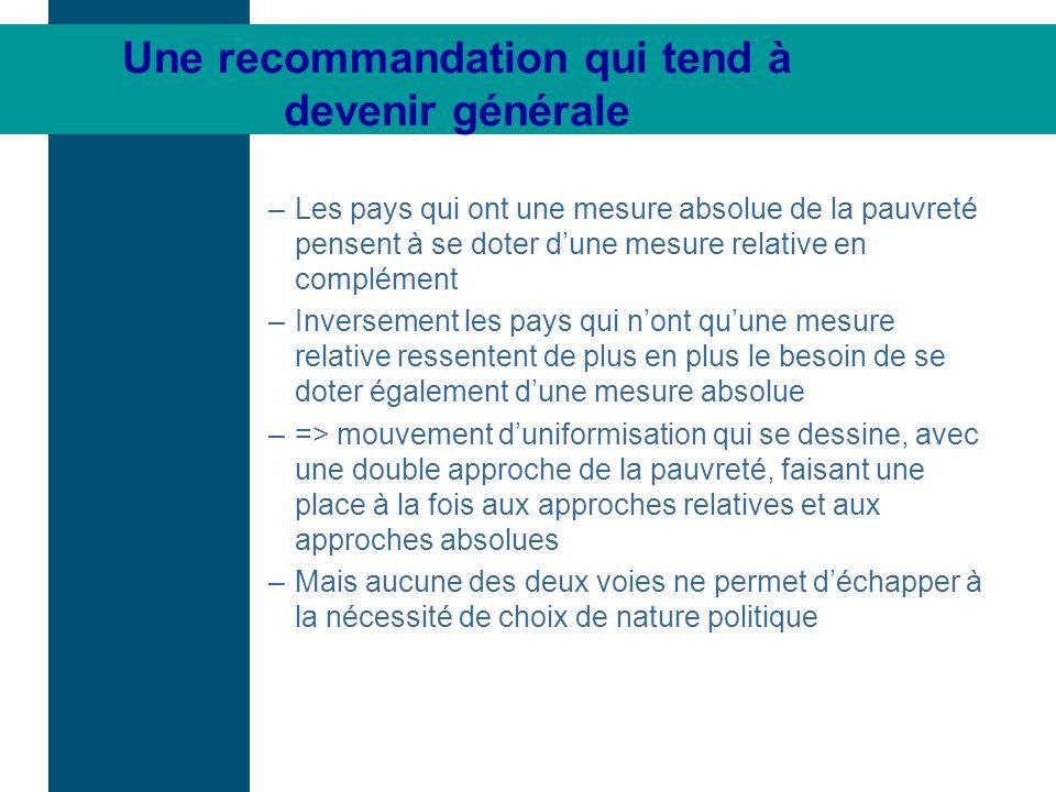Une recommandation qui tend à devenir générale –Les pays qui ont une mesure absolue de la pauvreté pensent à se doter dune mesure relative en compléme