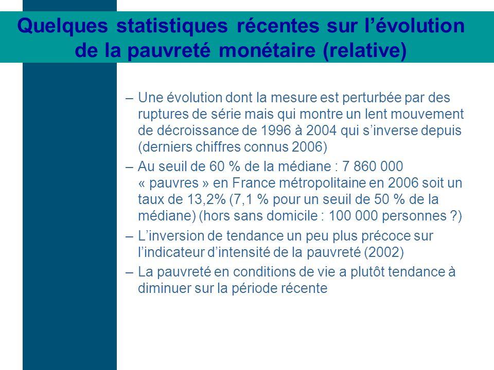 Quelques statistiques récentes sur lévolution de la pauvreté monétaire (relative) –Une évolution dont la mesure est perturbée par des ruptures de séri