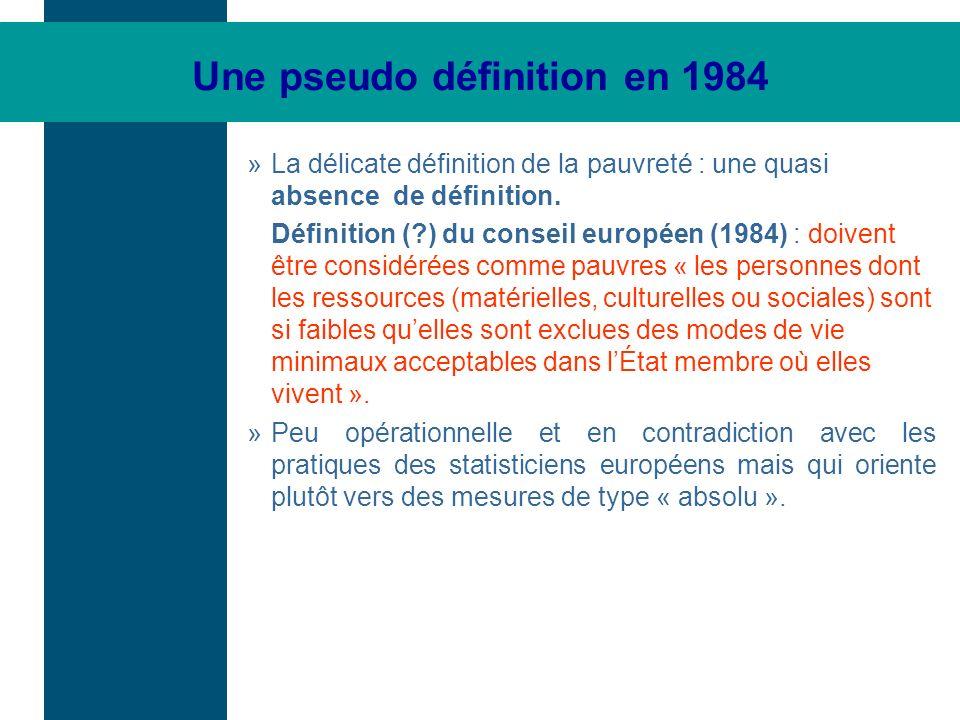Une pseudo définition en 1984 »La délicate définition de la pauvreté : une quasi absence de définition. Définition (?) du conseil européen (1984) : do