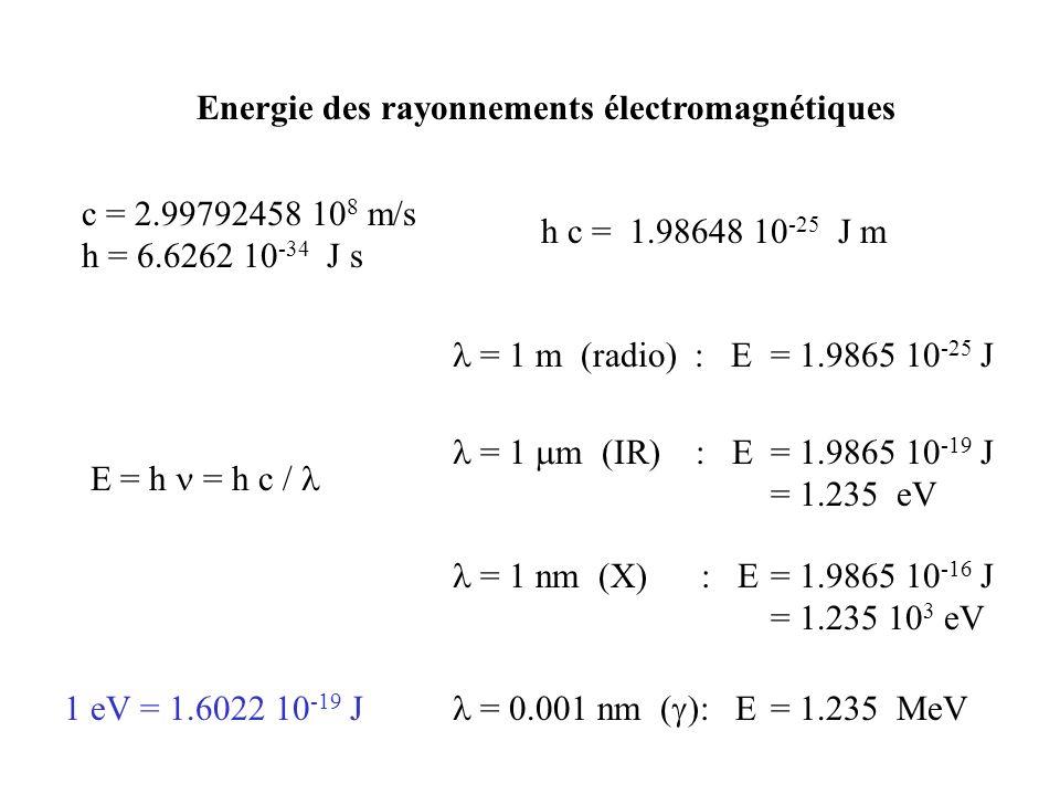 Energie des rayonnements électromagnétiques c = 2.99792458 10 8 m/s h = 6.6262 10 -34 J s h c = 1.98648 10 -25 J m E = h = h c / = 1 m (radio) : E = 1