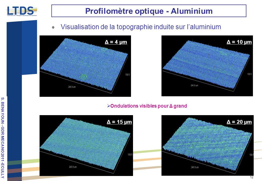 S. VALETTE, LPM 2010, Stuttgart 12 Profilomètre optique - Aluminium Visualisation de la topographie induite sur laluminium Δ = 4 µmΔ = 10 µm Δ = 15 µm