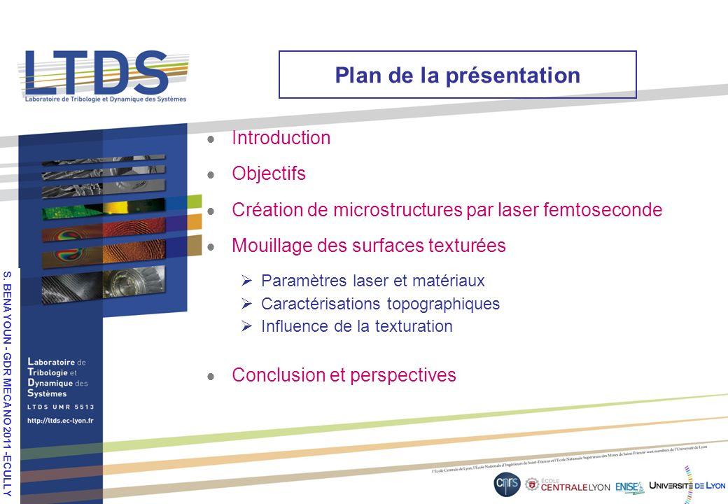 S. VALETTE, LPM 2010, Stuttgart Plan de la présentation Introduction Objectifs Création de microstructures par laser femtoseconde Mouillage des surfac