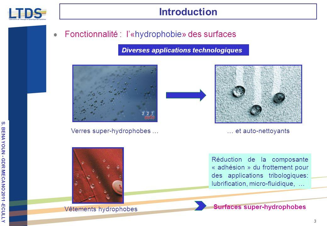 S. VALETTE, LPM 2010, Stuttgart 3 Introduction Fonctionnalité : l«hydrophobie» des surfaces Verres super-hydrophobes …… et auto-nettoyants Vêtements h