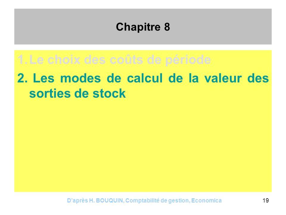 Daprès H. BOUQUIN, Comptabilité de gestion, Economica19 Chapitre 8 1.Le choix des coûts de période 2. Les modes de calcul de la valeur des sorties de