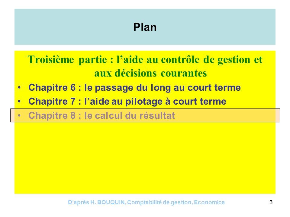 Daprès H. BOUQUIN, Comptabilité de gestion, Economica14 Exemples