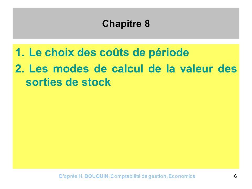 Daprès H. BOUQUIN, Comptabilité de gestion, Economica6 Chapitre 8 1. Le choix des coûts de période 2. Les modes de calcul de la valeur des sorties de