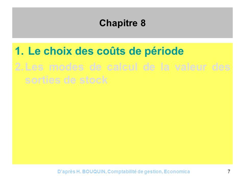 Daprès H. BOUQUIN, Comptabilité de gestion, Economica7 Chapitre 8 1. Le choix des coûts de période 2.Les modes de calcul de la valeur des sorties de s