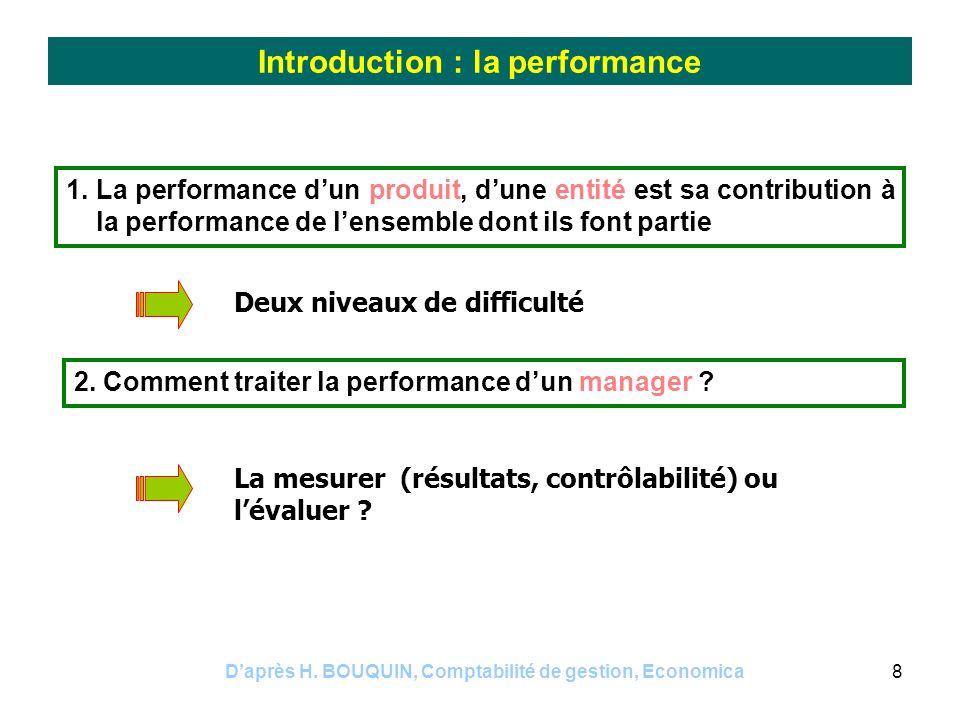 Daprès H. BOUQUIN, Comptabilité de gestion, Economica8 Introduction : la performance 1. La performance dun produit, dune entité est sa contribution à