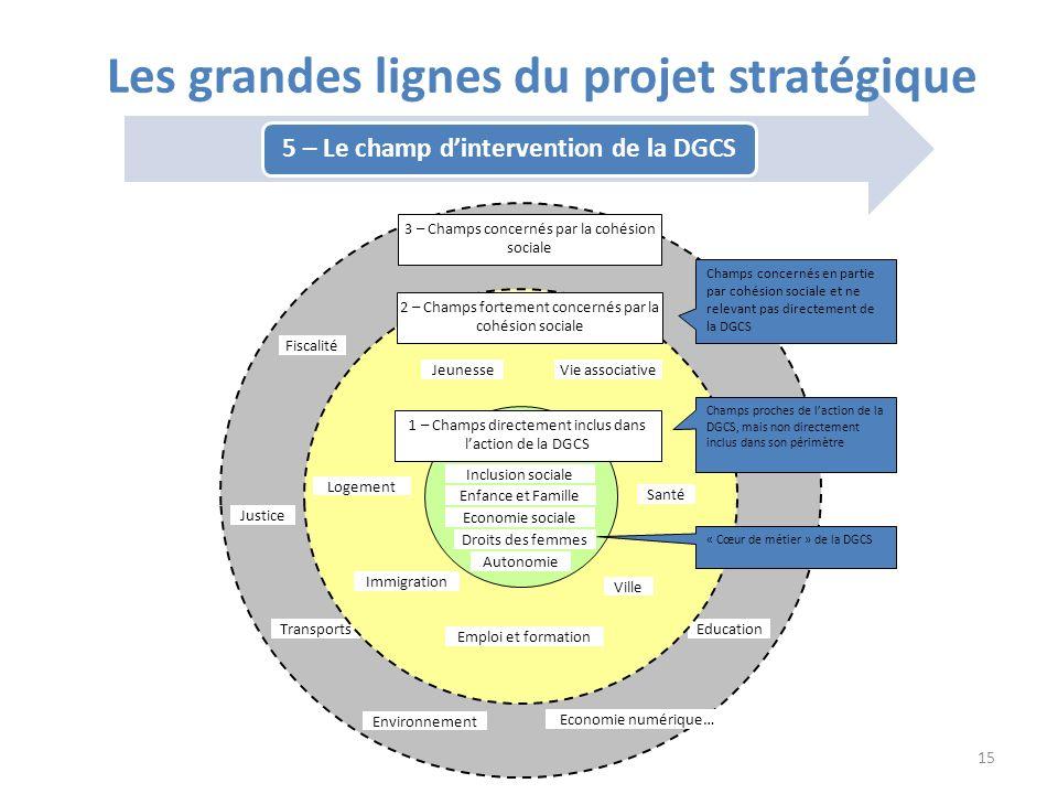 5 – Le champ dintervention de la DGCS Les grandes lignes du projet stratégique Fiscalité Education Justice Transports Economie numérique… Environnemen