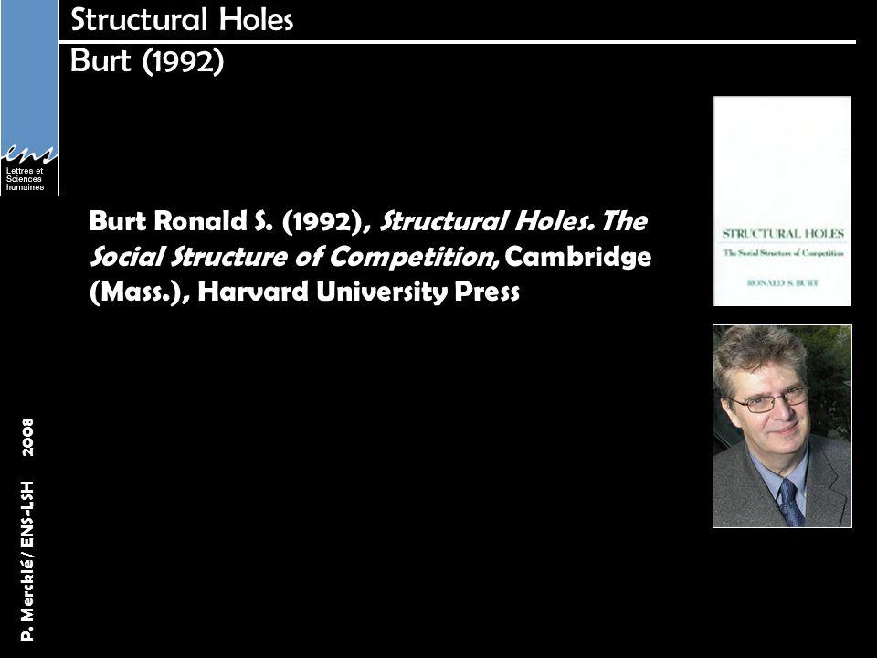 P. Mercklé / ENS-LSH 2008 Structural Holes Burt (1992) Burt Ronald S. (1992), Structural Holes. The Social Structure of Competition, Cambridge (Mass.)