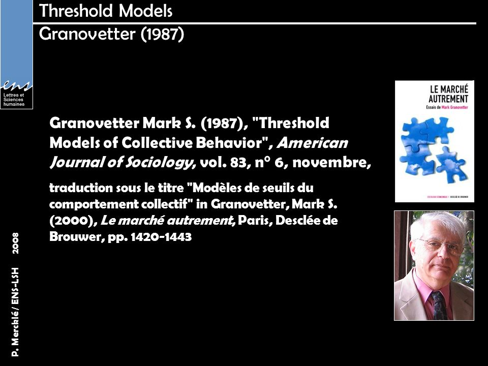P. Mercklé / ENS-LSH 2008 Threshold Models Granovetter (1987) Granovetter Mark S. (1987),