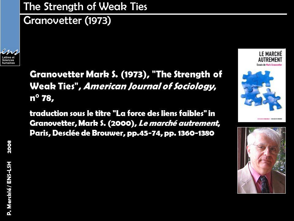P. Mercklé / ENS-LSH 2008 The Strength of Weak Ties Granovetter (1973) Granovetter Mark S. (1973),