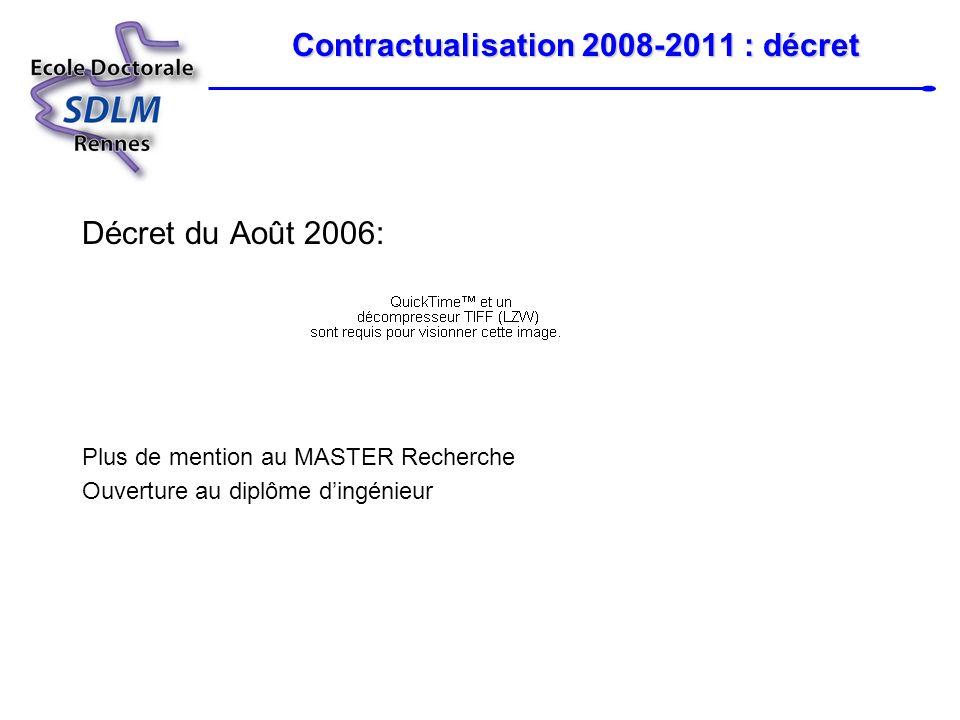 Contractualisation 2008-2011 : décret Jury: 3 à 8 dont la moitié, au moins, est extérieur à lED et à létablissement dinscription