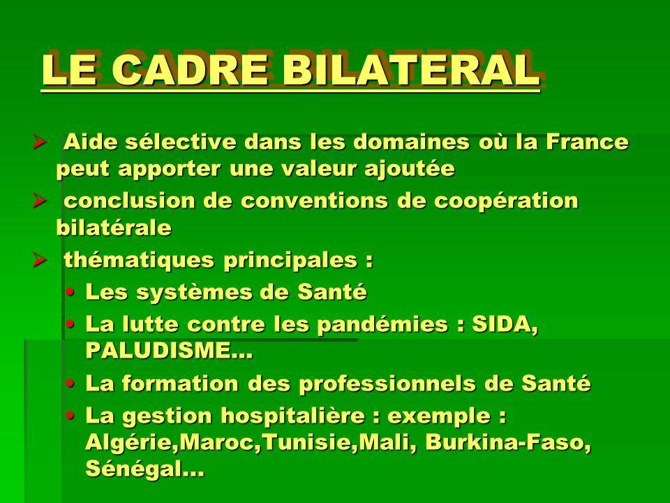 LE CADRE BILATERAL Aide sélective dans les domaines où la France peut apporter une valeur ajoutée Aide sélective dans les domaines où la France peut a