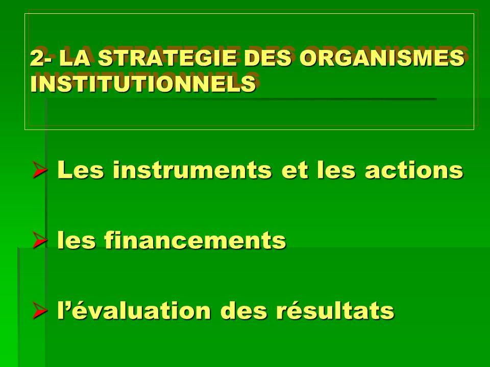 2- LA STRATEGIE DES ORGANISMES INSTITUTIONNELS Les instruments et les actions Les instruments et les actions les financements les financements lévalua