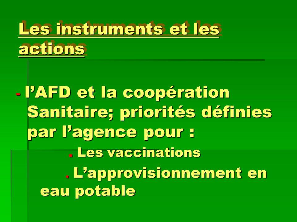 Les instruments et les actions - lAFD et la coopération Sanitaire; priorités définies par lagence pour :. Les vaccinations. Les vaccinations. Lapprovi