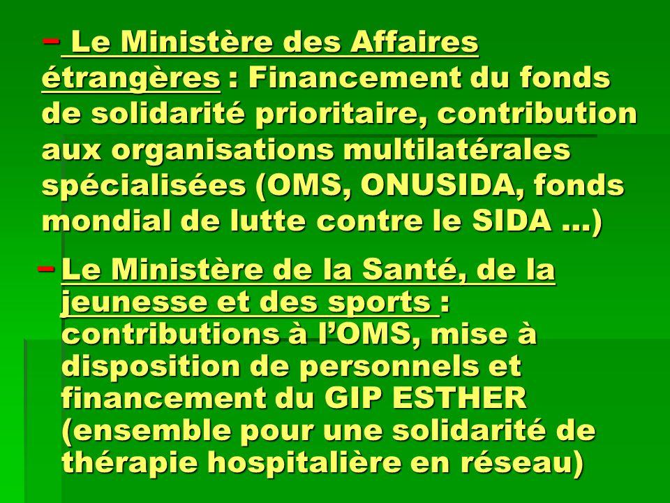 Le Ministère des Affaires étrangères : Financement du fonds de solidarité prioritaire, contribution aux organisations multilatérales spécialisées (OMS