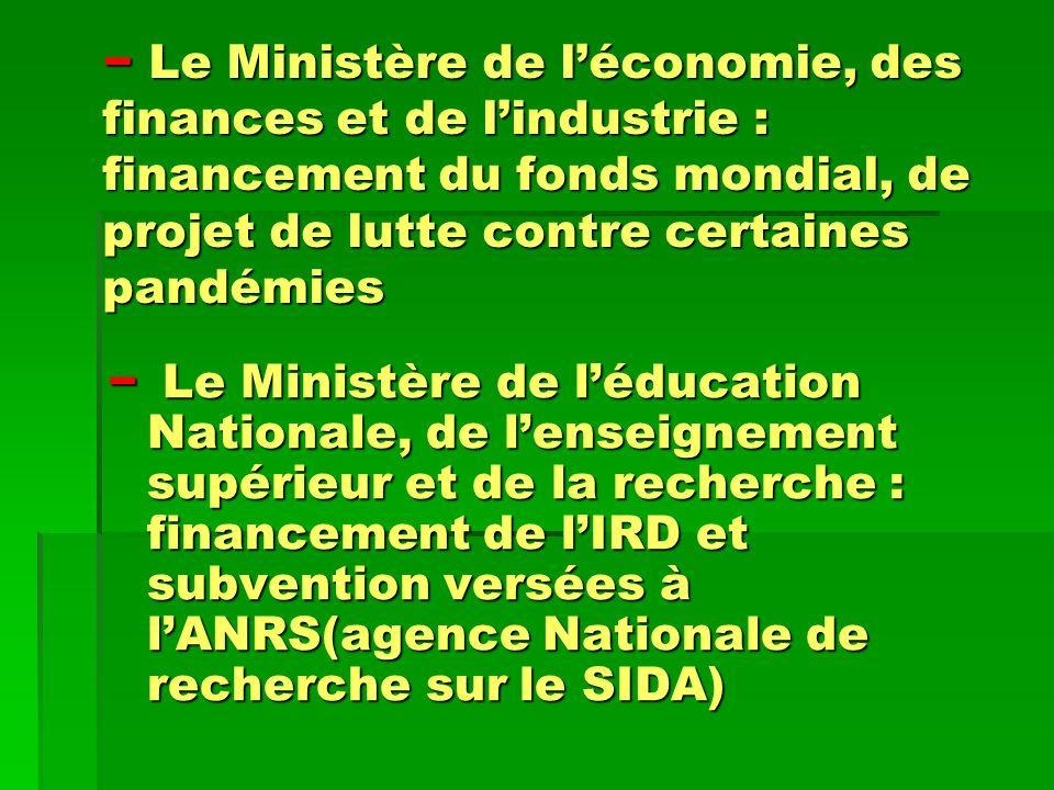 Le Ministère de léconomie, des finances et de lindustrie : financement du fonds mondial, de projet de lutte contre certaines pandémies Le Ministère de