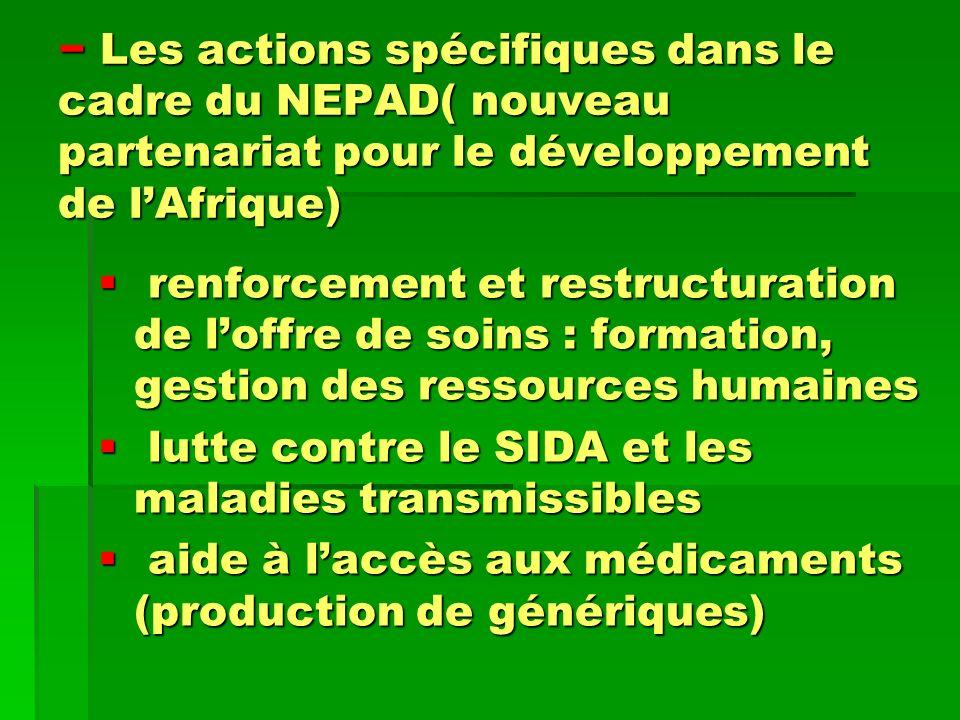 Les actions spécifiques dans le cadre du NEPAD( nouveau partenariat pour le développement de lAfrique) Les actions spécifiques dans le cadre du NEPAD(